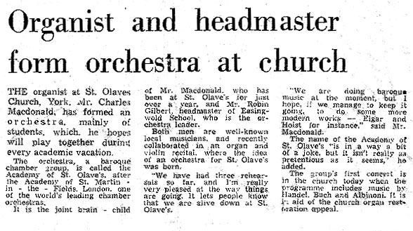 First Concert Press Article