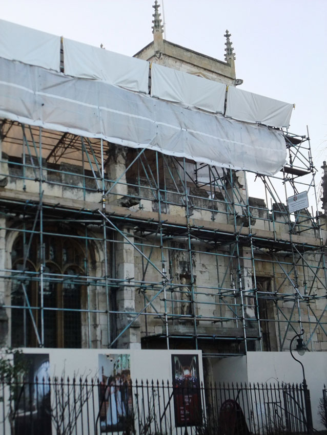 St Olave's Church in scaffolding, 2015