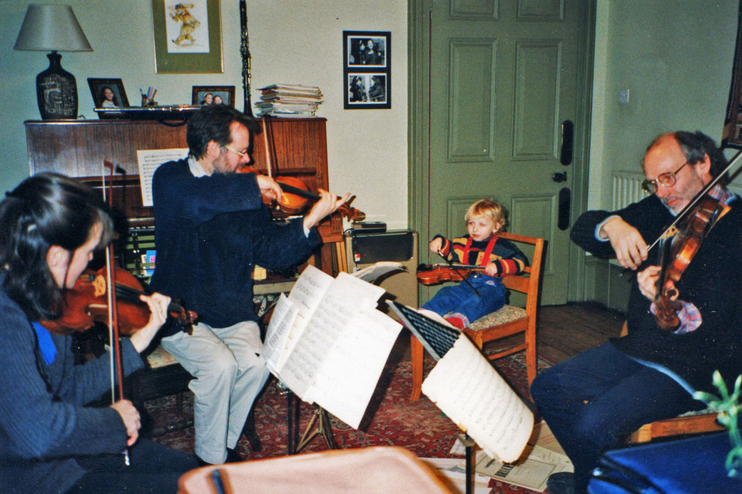 My debut with the Fitzwilliam String Quartet, aged 3. It all went downhill from there…