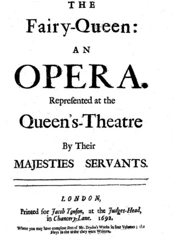 Original title page of Fairy Queen